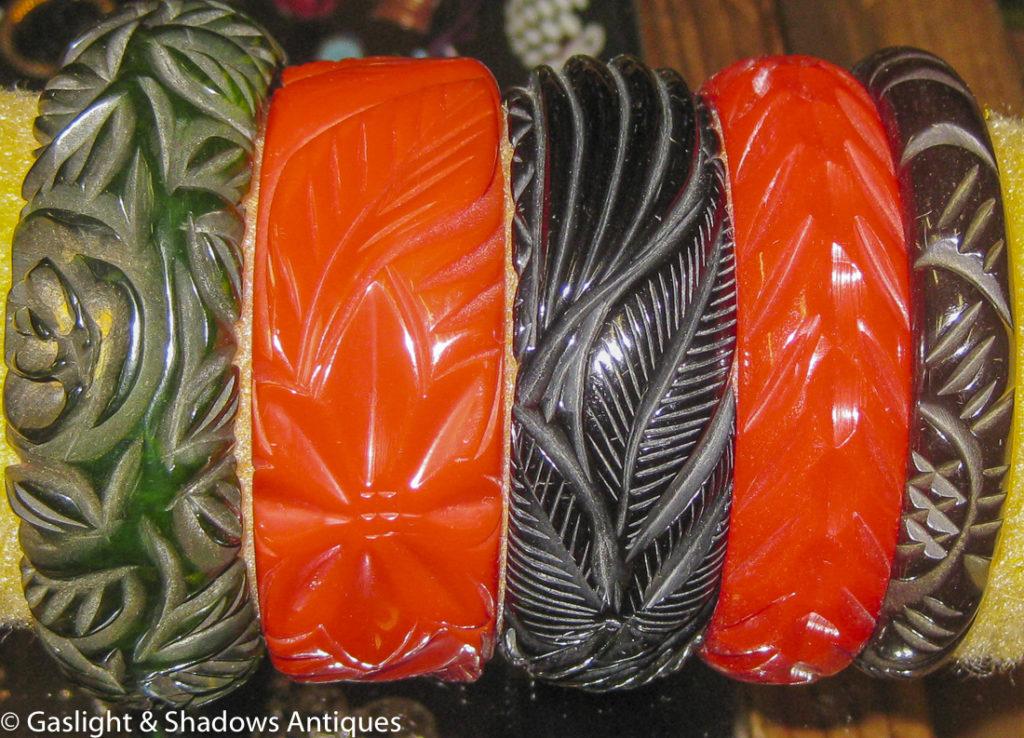 Bakelite carved bracelets just arrived